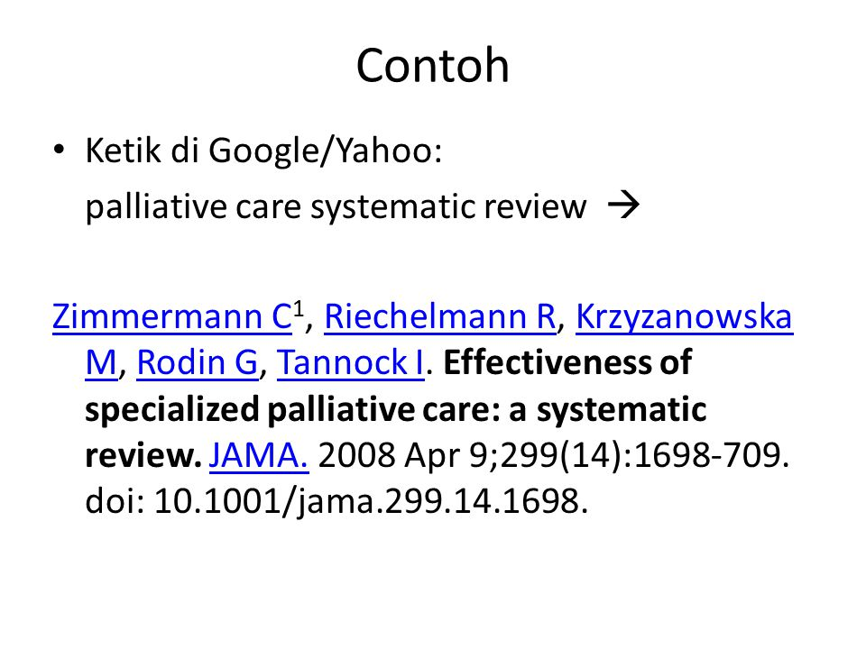 Contoh Ketik di Google/Yahoo: palliative care systematic review 