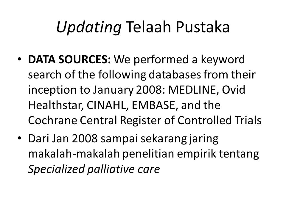 Updating Telaah Pustaka