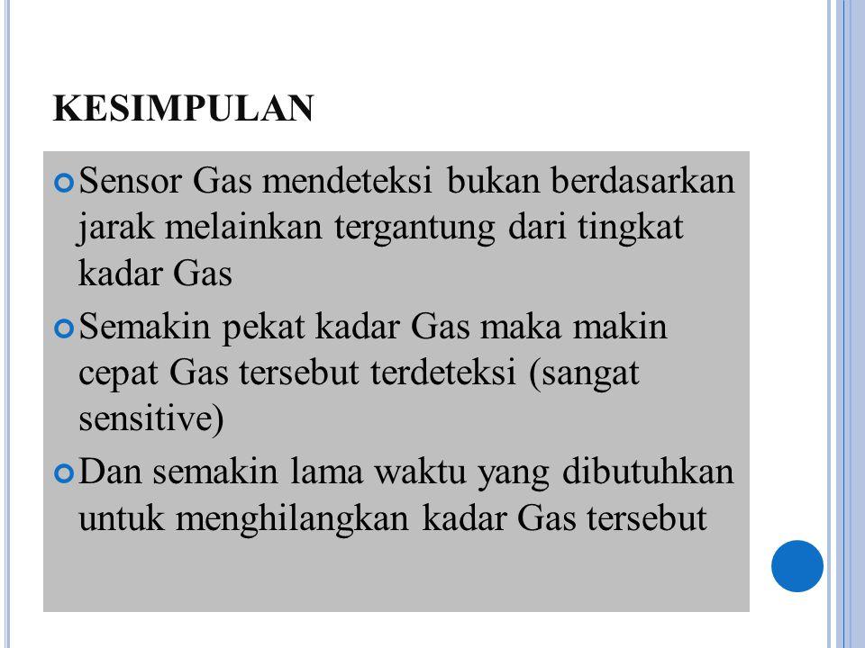 KESIMPULAN Sensor Gas mendeteksi bukan berdasarkan jarak melainkan tergantung dari tingkat kadar Gas.