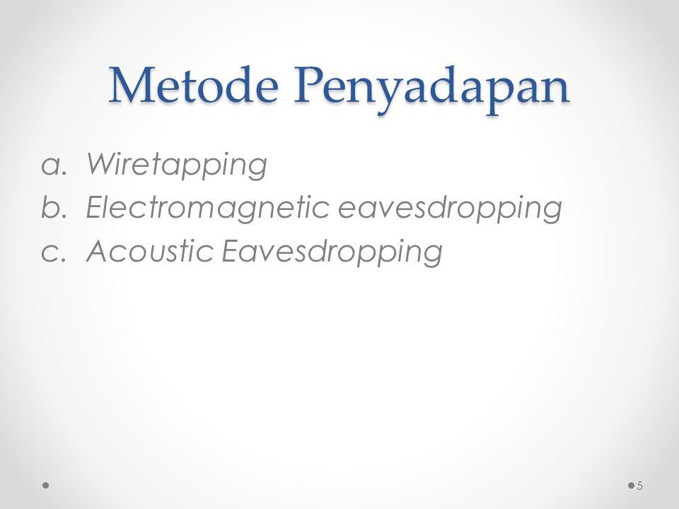 Metode Penyadapan Wiretapping Electromagnetic eavesdropping