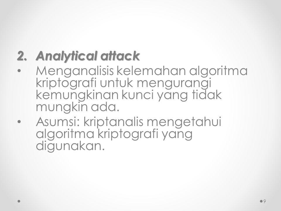 Analytical attack Menganalisis kelemahan algoritma kriptografi untuk mengurangi kemungkinan kunci yang tidak mungkin ada.