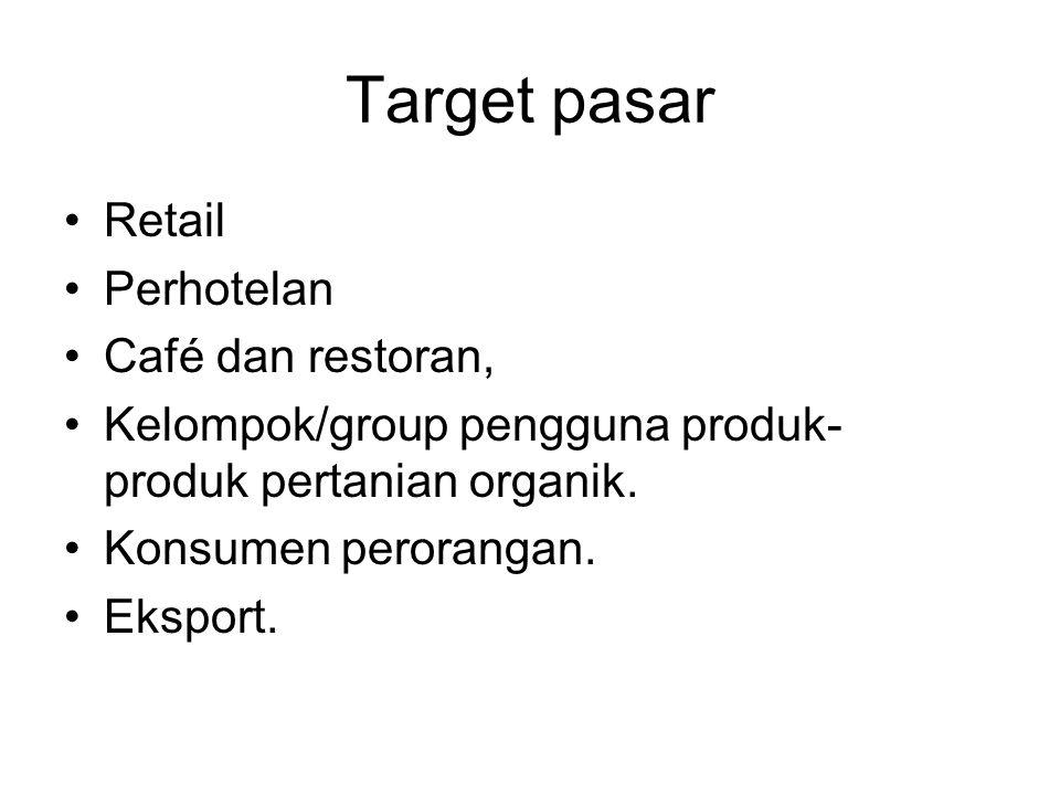 Target pasar Retail Perhotelan Café dan restoran,