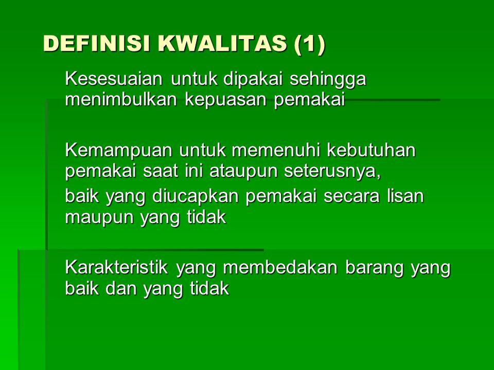 DEFINISI KWALITAS (1) Kesesuaian untuk dipakai sehingga menimbulkan kepuasan pemakai.