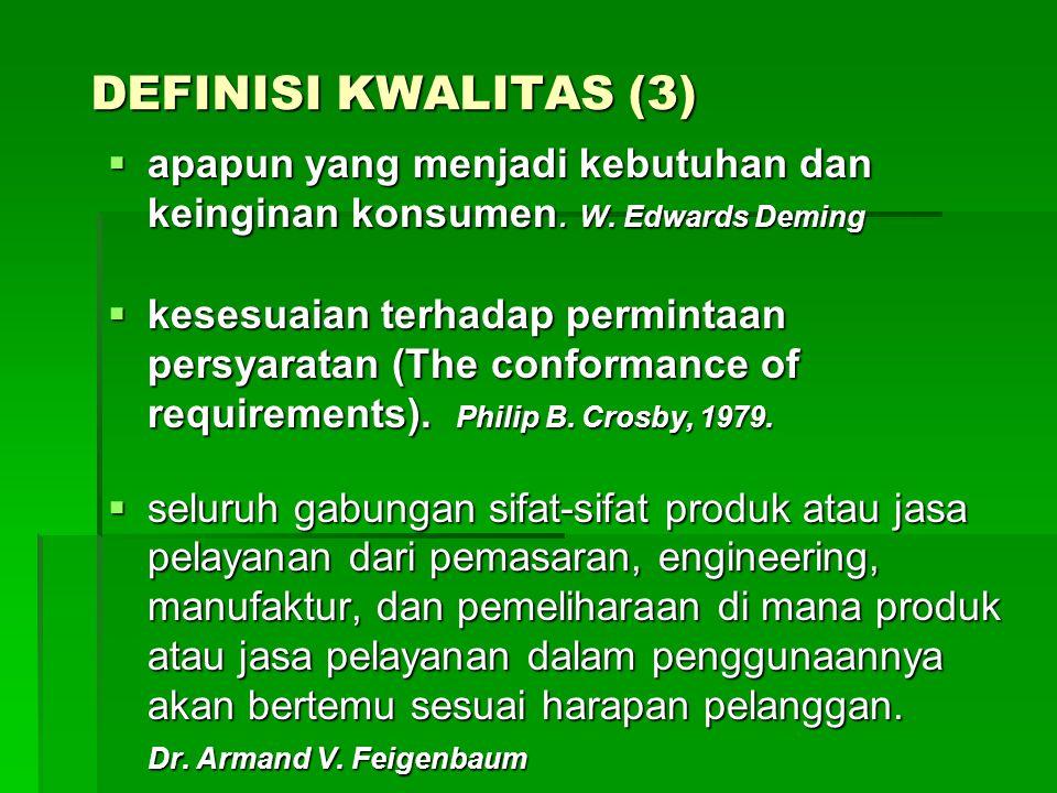 DEFINISI KWALITAS (3) apapun yang menjadi kebutuhan dan keinginan konsumen. W. Edwards Deming.