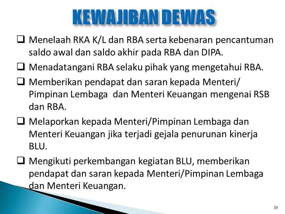 KEWAJIBAN DEWAS Menelaah RKA K/L dan RBA serta kebenaran pencantuman saldo awal dan saldo akhir pada RBA dan DIPA.