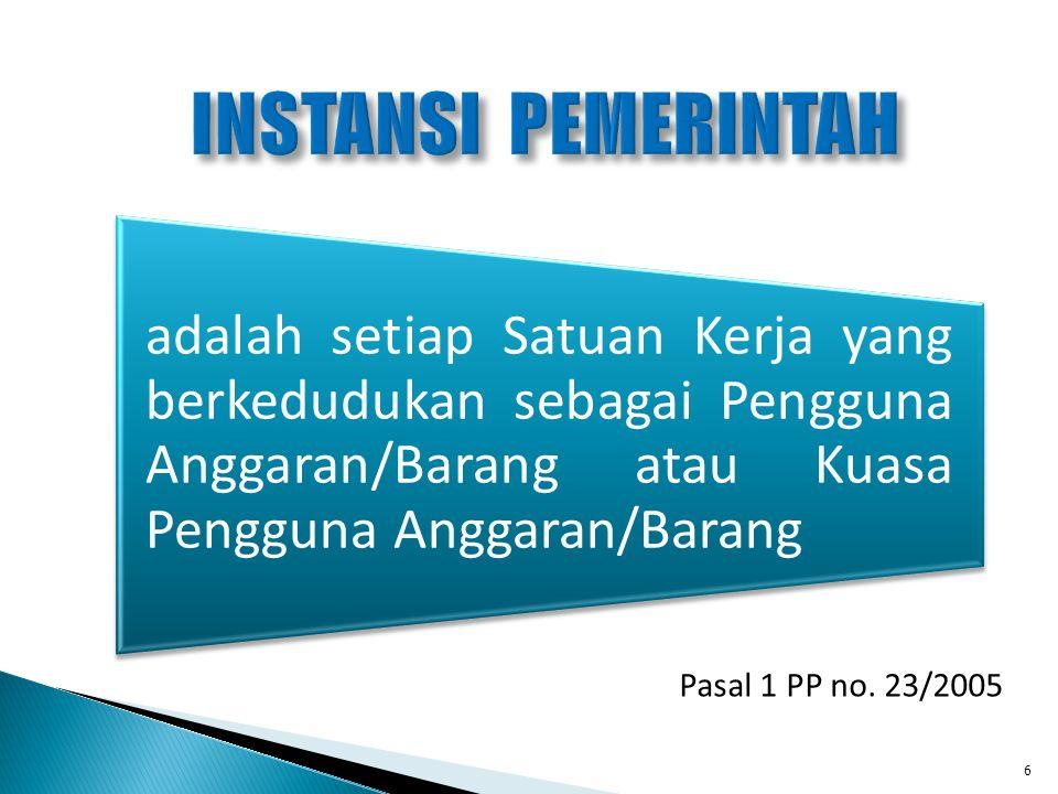 INSTANSI PEMERINTAH Pasal 1 PP no. 23/2005