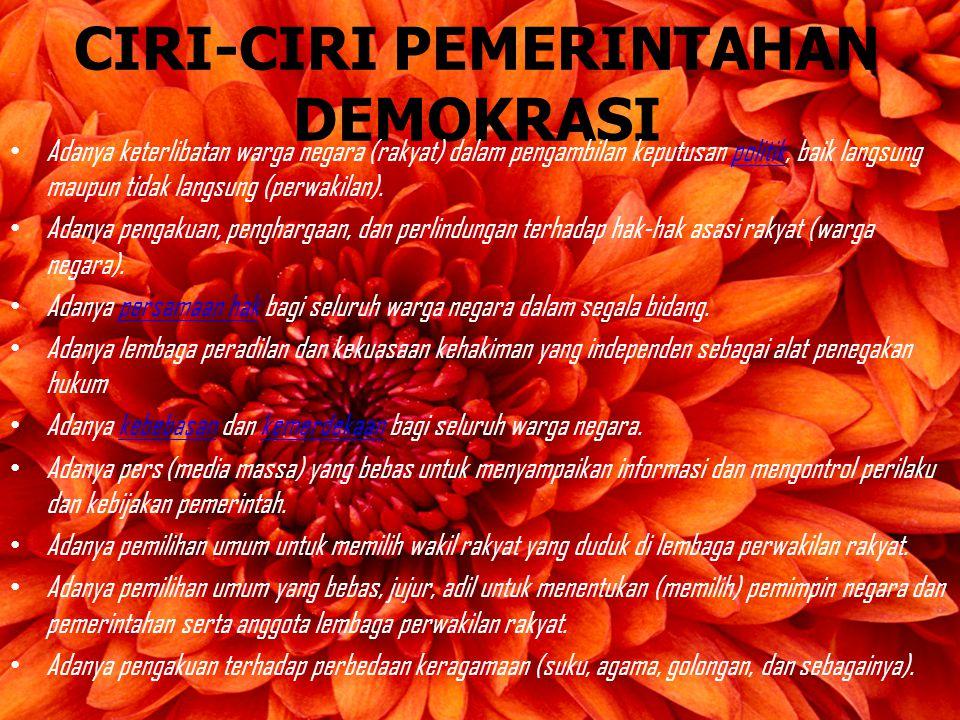 CIRI-CIRI PEMERINTAHAN DEMOKRASI