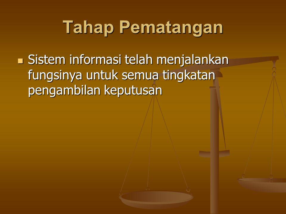Tahap Pematangan Sistem informasi telah menjalankan fungsinya untuk semua tingkatan pengambilan keputusan.