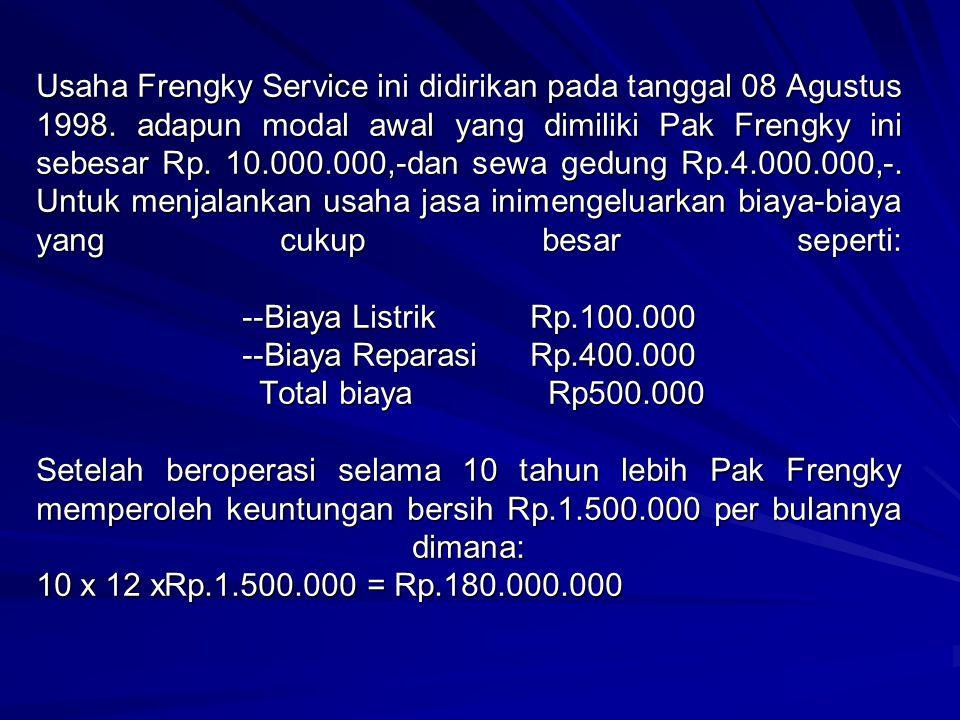 Usaha Frengky Service ini didirikan pada tanggal 08 Agustus 1998
