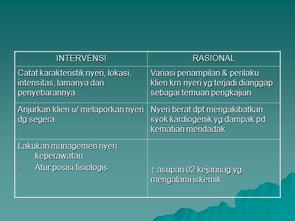 INTERVENSI RASIONAL. Catat karakteristik nyeri, lokasi, intensitas, lamanya dan penyebarannya.
