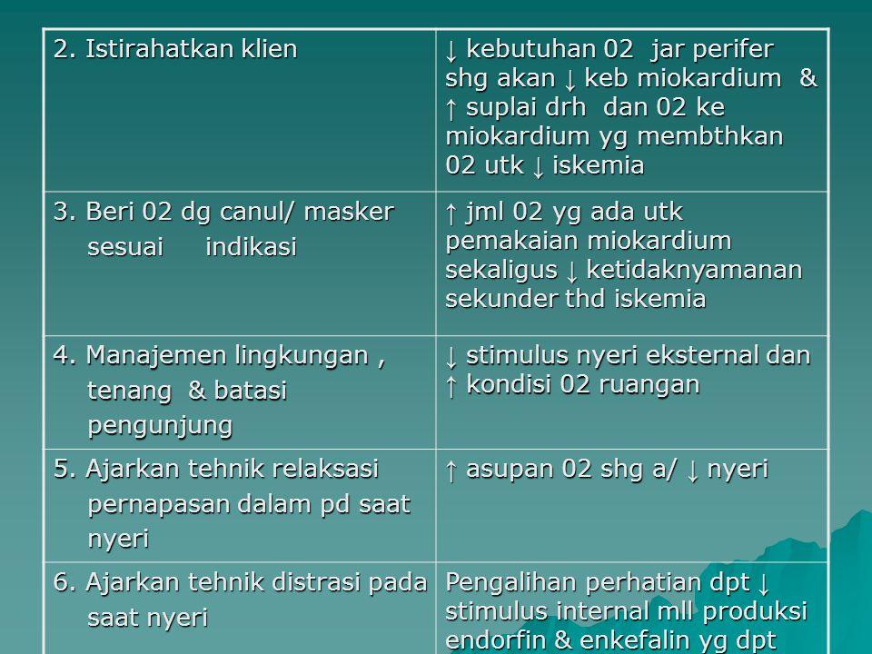 2. Istirahatkan klien ↓ kebutuhan 02 jar perifer shg akan ↓ keb miokardium & ↑ suplai drh dan 02 ke miokardium yg membthkan 02 utk ↓ iskemia.