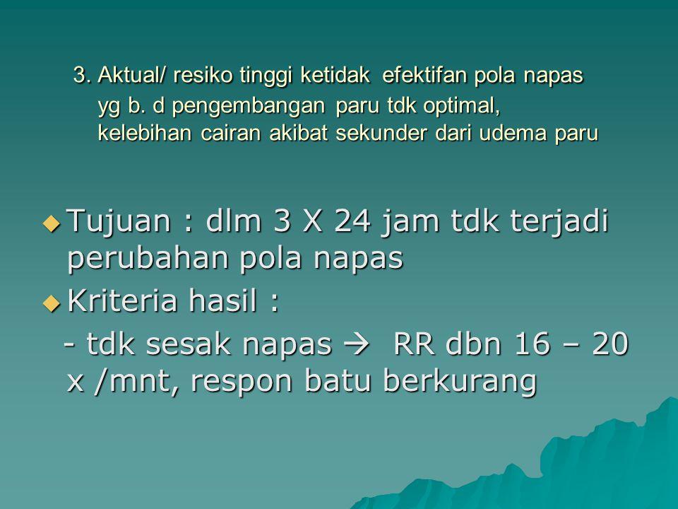 Tujuan : dlm 3 X 24 jam tdk terjadi perubahan pola napas