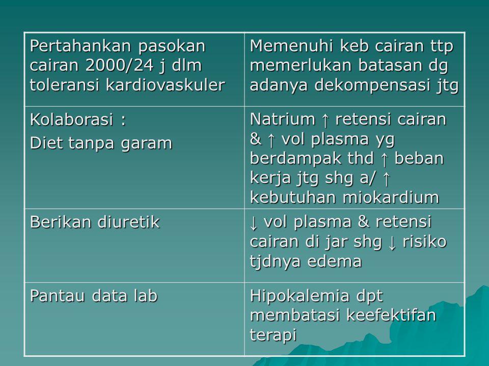Pertahankan pasokan cairan 2000/24 j dlm toleransi kardiovaskuler