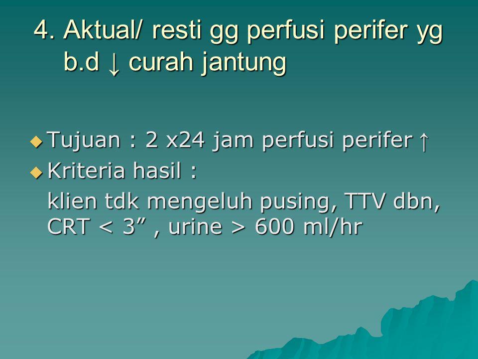 4. Aktual/ resti gg perfusi perifer yg b.d ↓ curah jantung