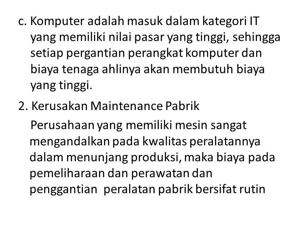 c. Komputer adalah masuk dalam kategori IT yang memiliki nilai pasar yang tinggi, sehingga setiap pergantian perangkat komputer dan biaya tenaga ahlinya akan membutuh biaya yang tinggi.