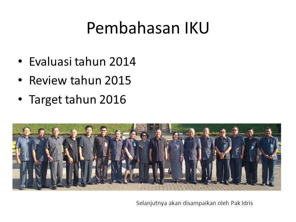 Pembahasan IKU Evaluasi tahun 2014 Review tahun 2015 Target tahun 2016
