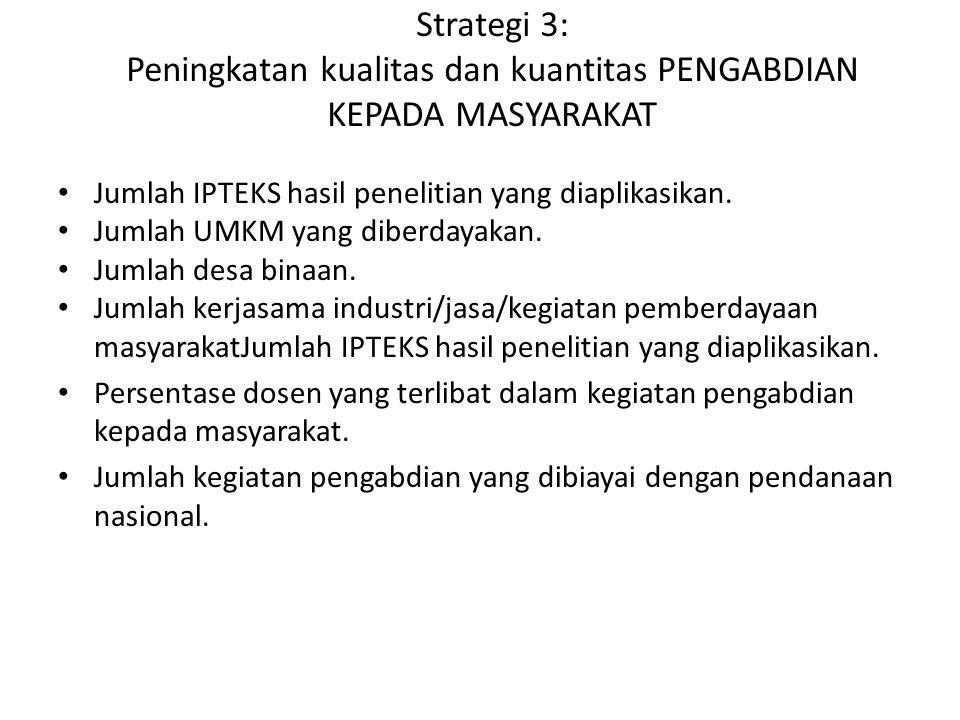 Strategi 3: Peningkatan kualitas dan kuantitas PENGABDIAN KEPADA MASYARAKAT