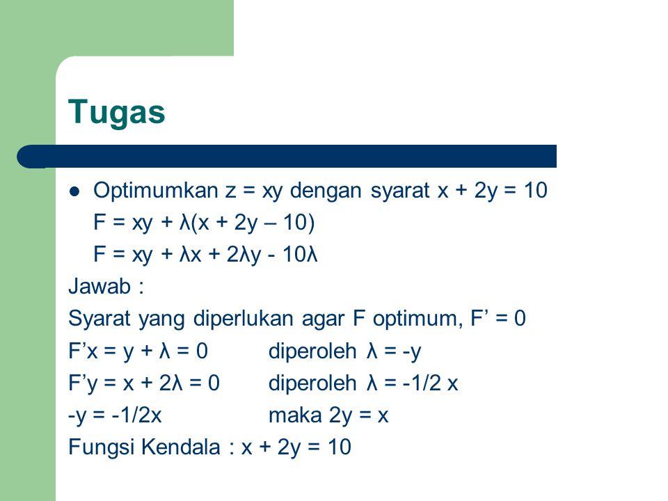 Tugas Optimumkan z = xy dengan syarat x + 2y = 10