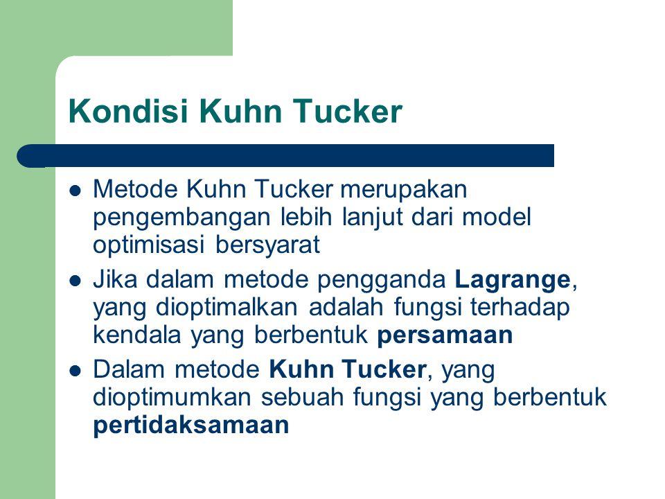 Kondisi Kuhn Tucker Metode Kuhn Tucker merupakan pengembangan lebih lanjut dari model optimisasi bersyarat.