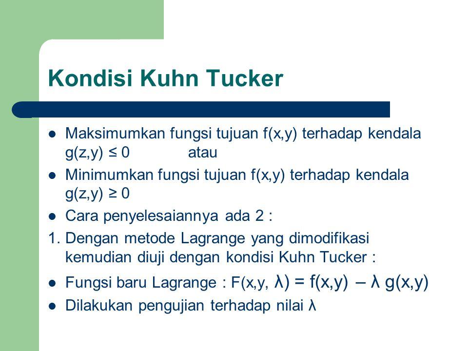 Kondisi Kuhn Tucker Maksimumkan fungsi tujuan f(x,y) terhadap kendala g(z,y) ≤ 0 atau. Minimumkan fungsi tujuan f(x,y) terhadap kendala g(z,y) ≥ 0.