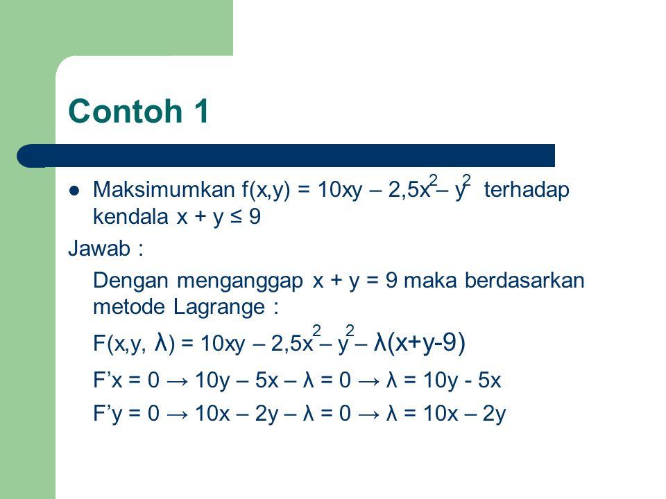 Contoh 1 F'x = 0 → 10y – 5x – λ = 0 → λ = 10y - 5x
