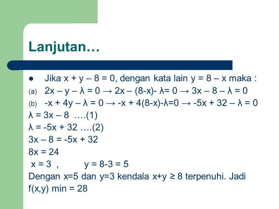 Lanjutan… Jika x + y – 8 = 0, dengan kata lain y = 8 – x maka :