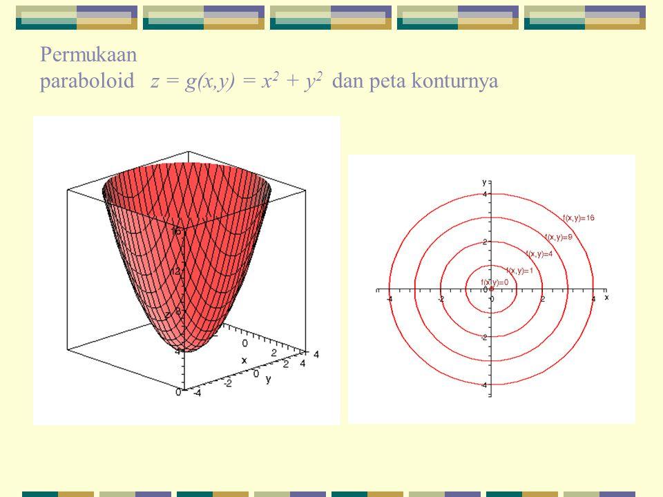 Permukaan paraboloid z = g(x,y) = x2 + y2 dan peta konturnya