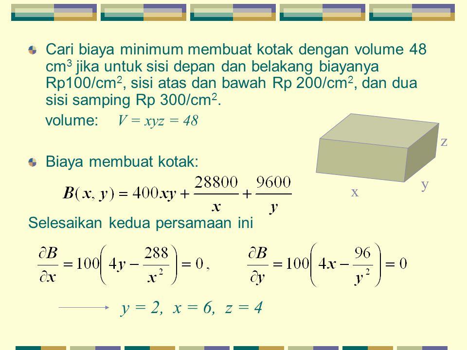 Cari biaya minimum membuat kotak dengan volume 48 cm3 jika untuk sisi depan dan belakang biayanya Rp100/cm2, sisi atas dan bawah Rp 200/cm2, dan dua sisi samping Rp 300/cm2.