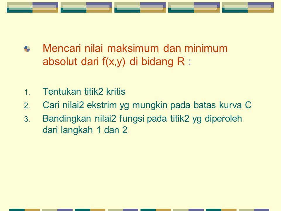 Mencari nilai maksimum dan minimum absolut dari f(x,y) di bidang R :