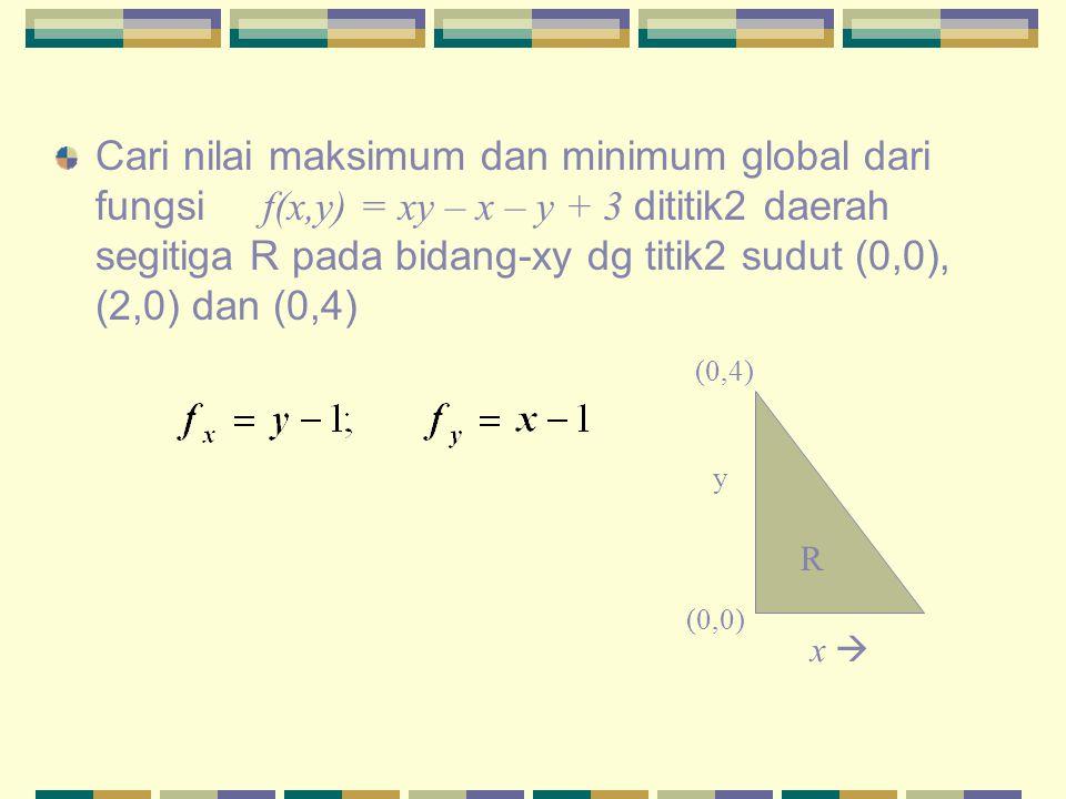 Cari nilai maksimum dan minimum global dari fungsi f(x,y) = xy – x – y + 3 dititik2 daerah segitiga R pada bidang-xy dg titik2 sudut (0,0), (2,0) dan (0,4)