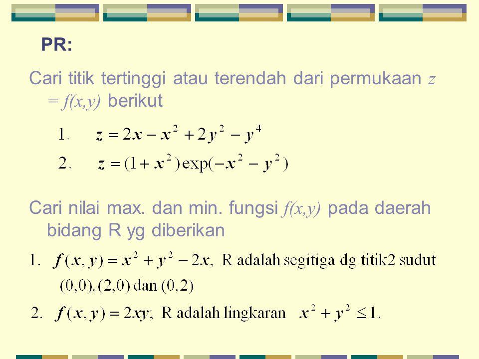 PR: Cari titik tertinggi atau terendah dari permukaan z = f(x,y) berikut.