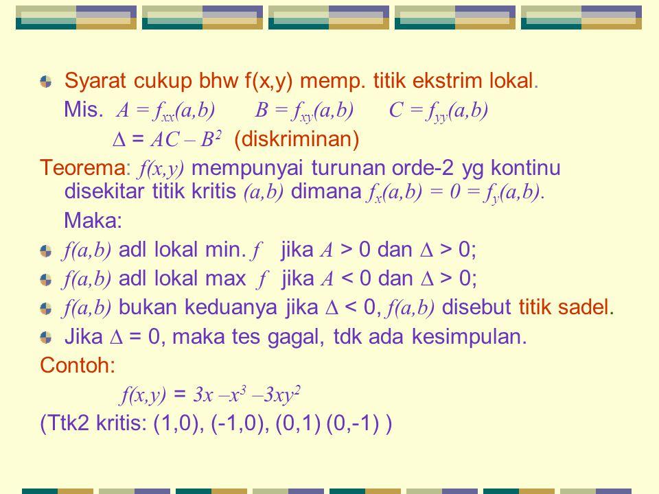 Syarat cukup bhw f(x,y) memp. titik ekstrim lokal.