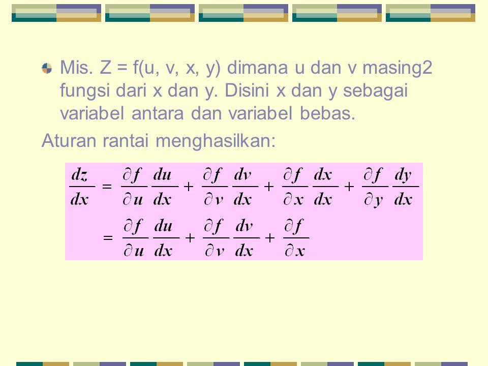 Mis. Z = f(u, v, x, y) dimana u dan v masing2 fungsi dari x dan y