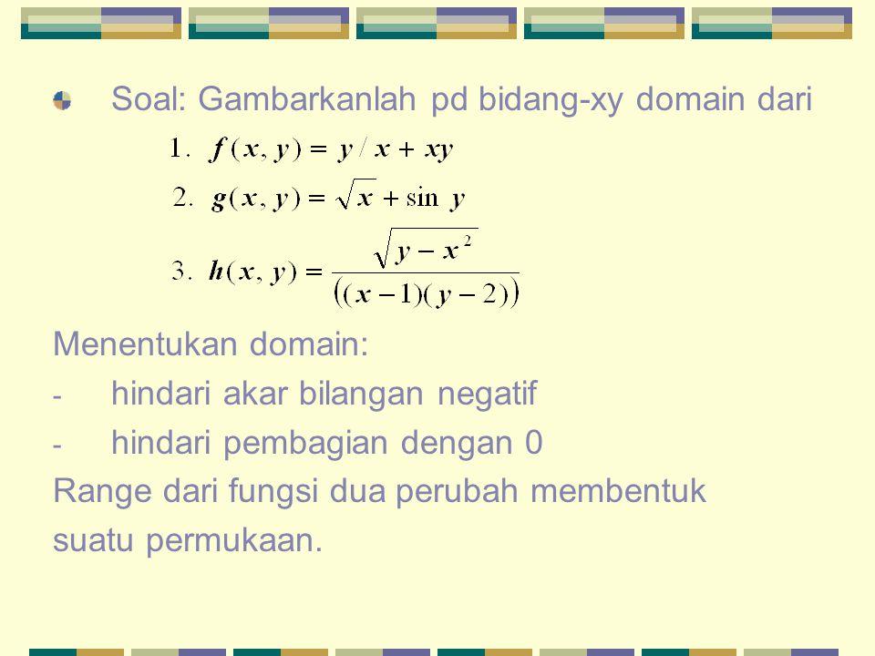 Soal: Gambarkanlah pd bidang-xy domain dari