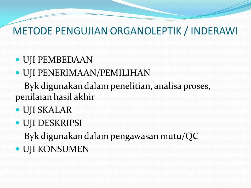 METODE PENGUJIAN ORGANOLEPTIK / INDERAWI