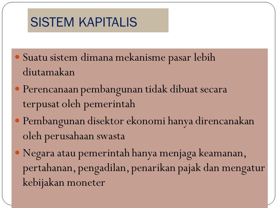 SISTEM KAPITALIS Suatu sistem dimana mekanisme pasar lebih diutamakan