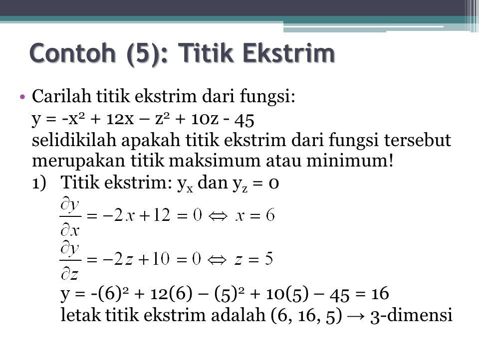 Contoh (5): Titik Ekstrim