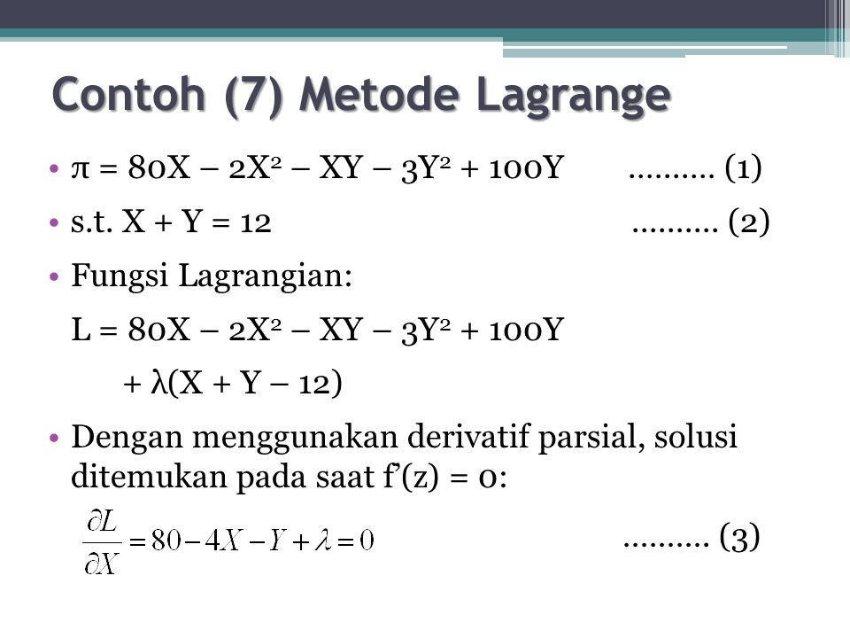 Contoh (7) Metode Lagrange