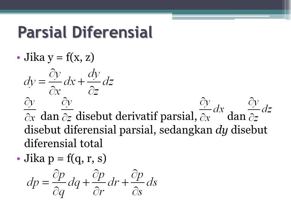 Parsial Diferensial Jika y = f(x, z)