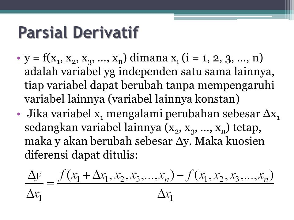 Parsial Derivatif
