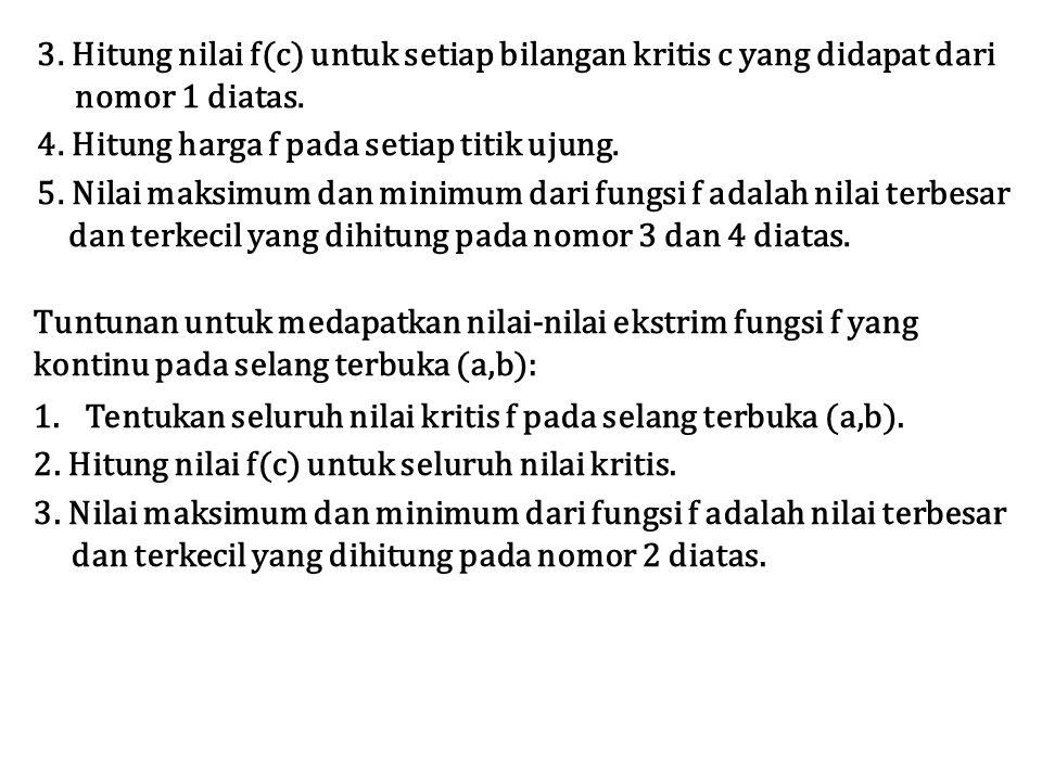 3. Hitung nilai f(c) untuk setiap bilangan kritis c yang didapat dari