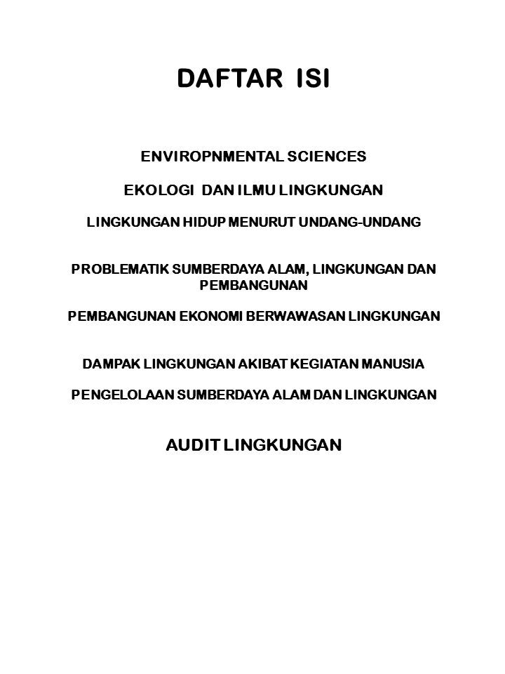 DAFTAR ISI AUDIT LINGKUNGAN ENVIROPNMENTAL SCIENCES