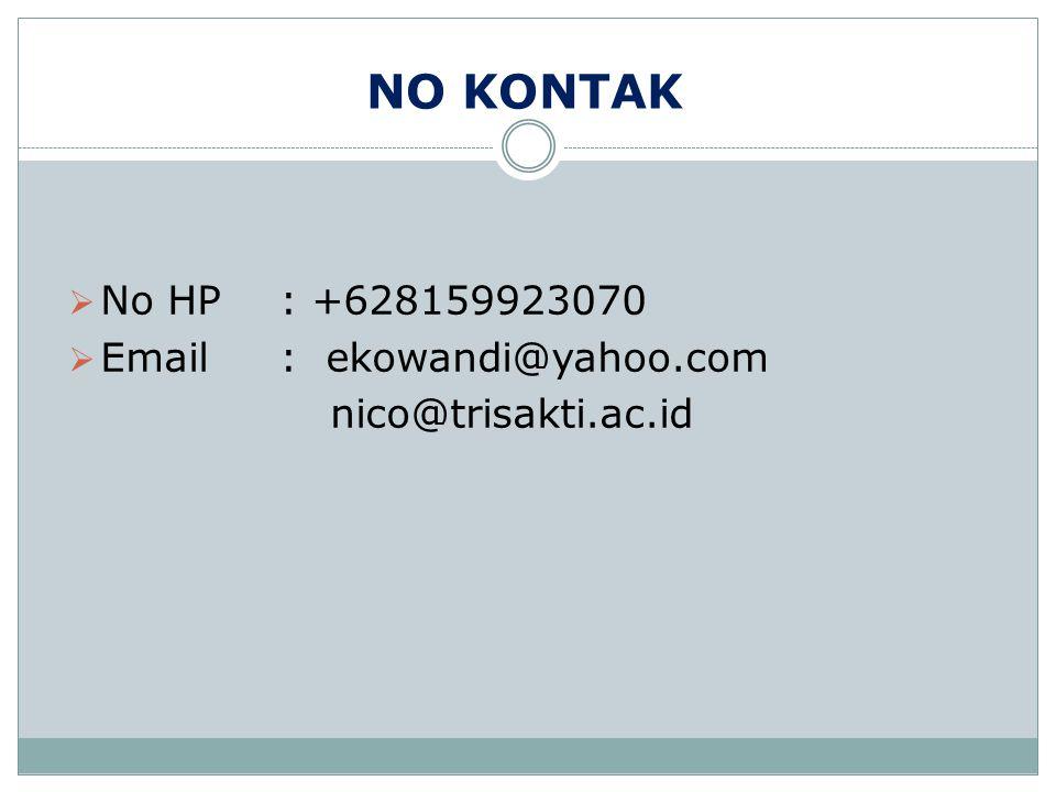 NO KONTAK No HP : +628159923070 Email : ekowandi@yahoo.com nico@trisakti.ac.id