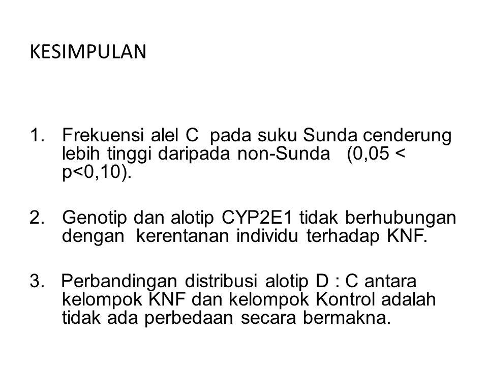 KESIMPULAN Frekuensi alel C pada suku Sunda cenderung lebih tinggi daripada non-Sunda (0,05 < p<0,10).
