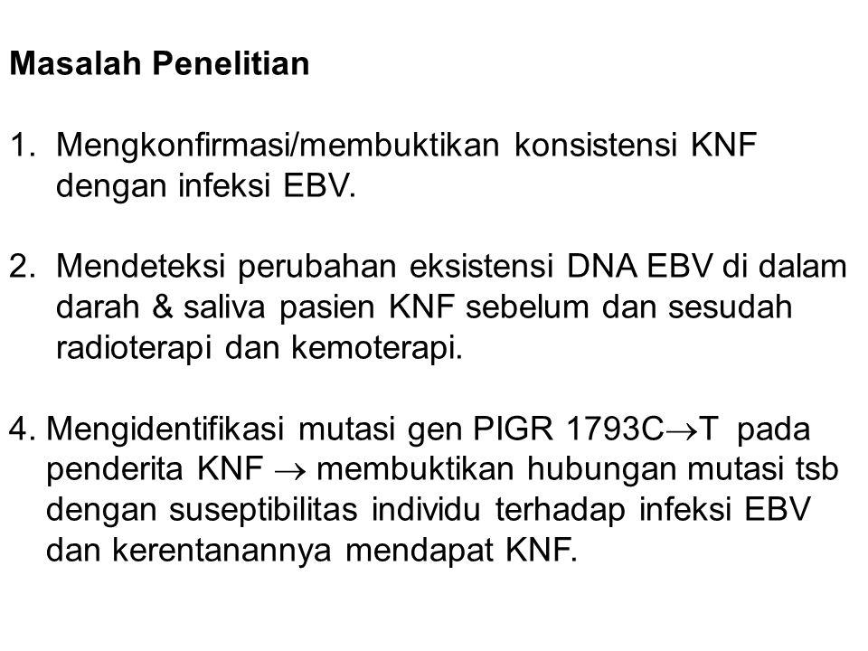 Masalah Penelitian 1. Mengkonfirmasi/membuktikan konsistensi KNF dengan infeksi EBV.