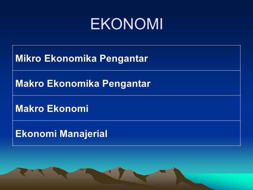 EKONOMI Mikro Ekonomika Pengantar Makro Ekonomika Pengantar