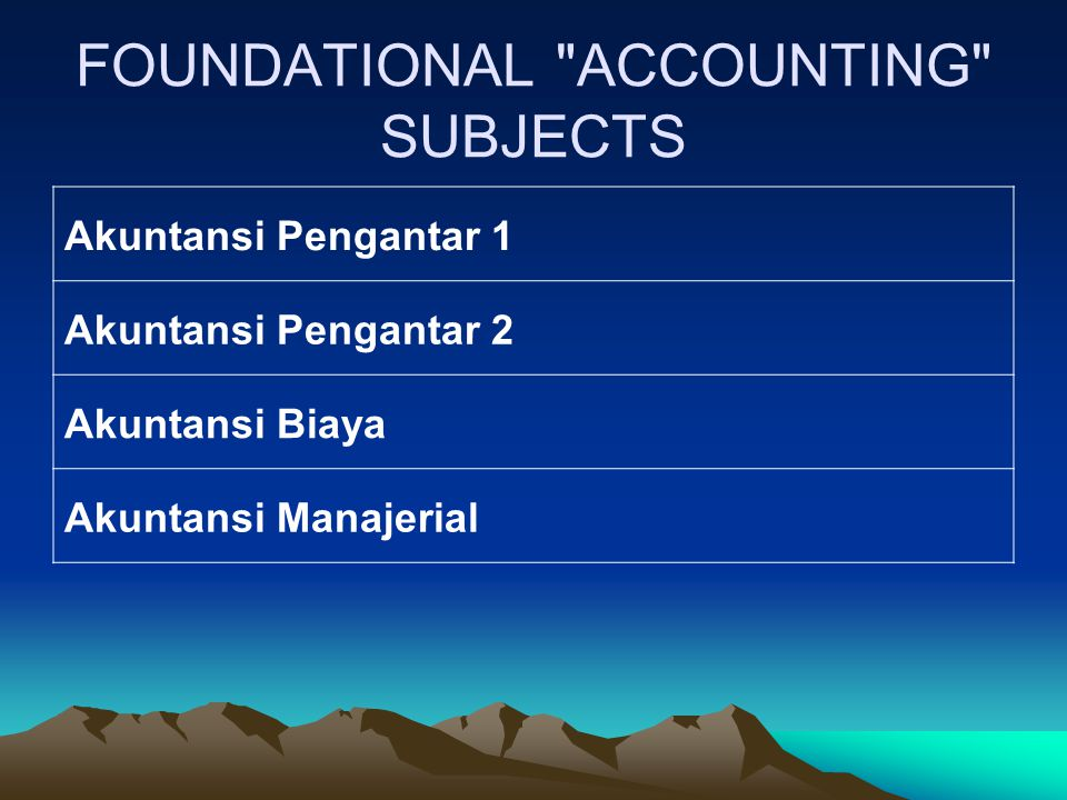 FOUNDATIONAL ACCOUNTING SUBJECTS