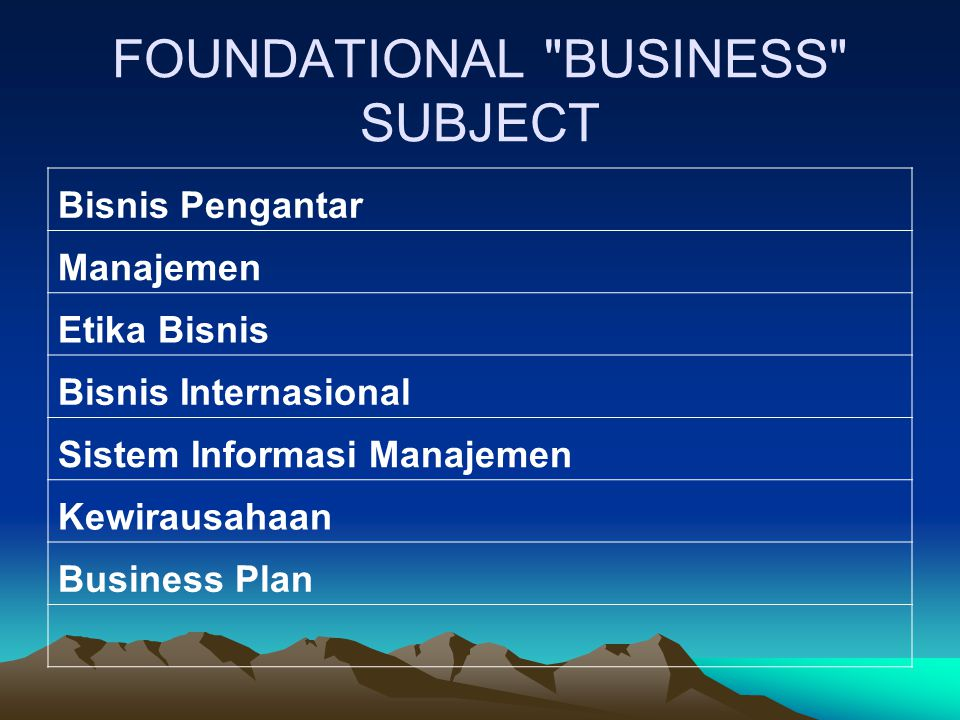 FOUNDATIONAL BUSINESS SUBJECT