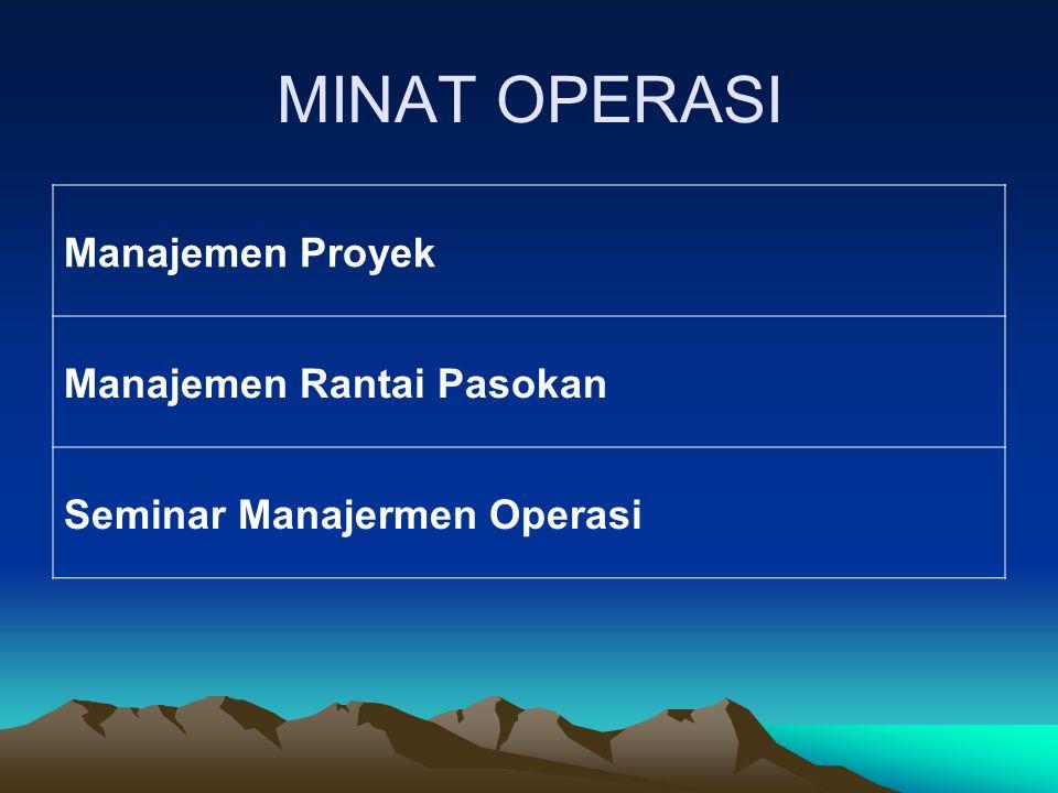 MINAT OPERASI Manajemen Proyek Manajemen Rantai Pasokan