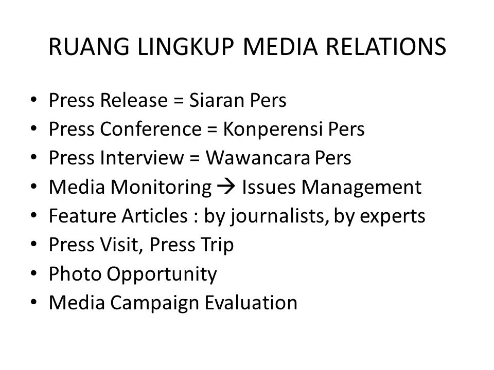 RUANG LINGKUP MEDIA RELATIONS